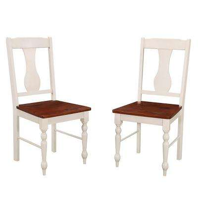 Brown And White Wood Dining Chair (Set Of 2)