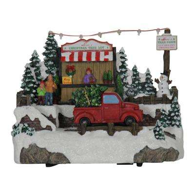 12 in. Christmas Tree Lot with Moving Truck - Automatic Timer