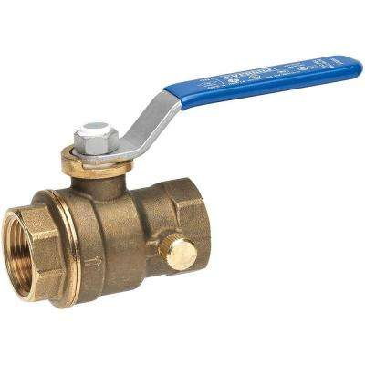 1/2 in. Lead Free Brass Threaded FPT x FPT Ball Valve with Drain