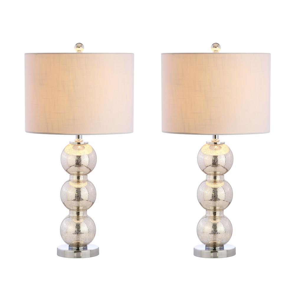 Bella 27 in. Mercury Silver/Chrome Glass Triple-Sphere Table Lamp (Set of 2)