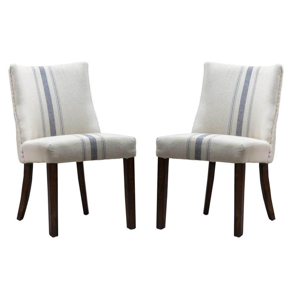 Noble House Harman Blue Stripe On Beige Linen Dining Chair Set Of 2