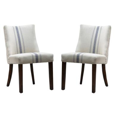 Harman Blue Stripe on Beige Linen Dining Chair (Set of 2)