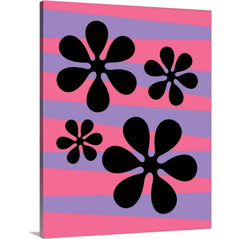 "LARGE PLUM PURPLE PINK FLORAL CANVAS PICTURE WALL ART MULTI SPLIT 4 PANEL 40/"""