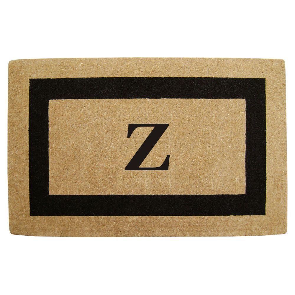 Single Picture Frame Black 30 in. x 48 in. HeavyDuty Coir Monogrammed Z Door Mat