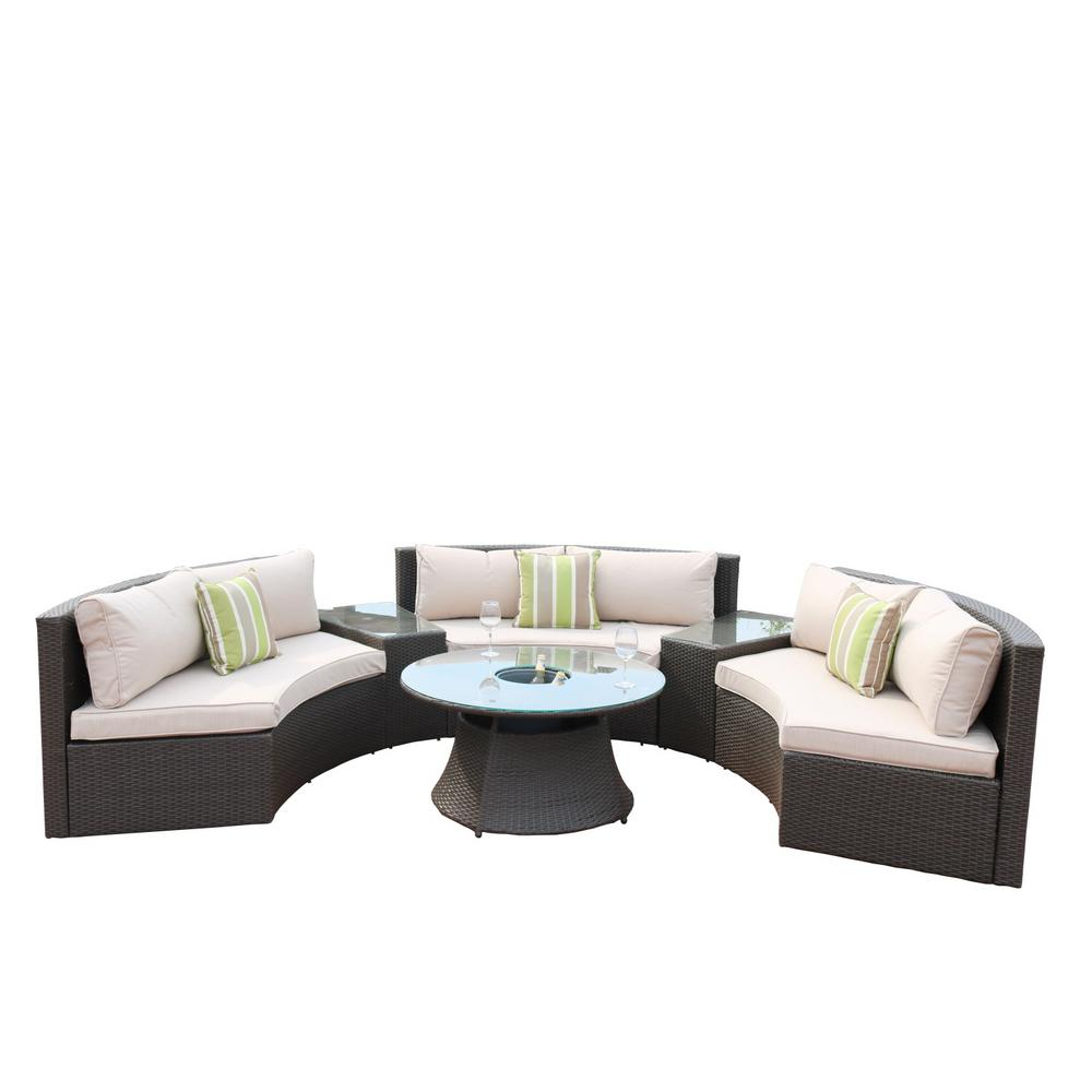 DIRECT WICKER 6-Piece Half Moon Black Wicker Outdoor Sectional Set with  Beige Cushions