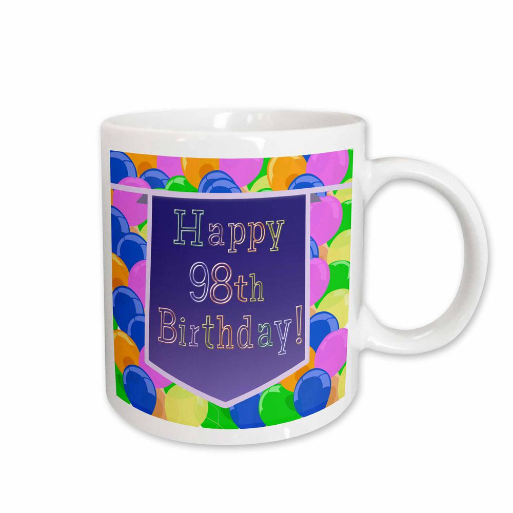Beverly Turner Birthday Design 11 Oz White Ceramic Balloons With Purple Banner Happy 98th