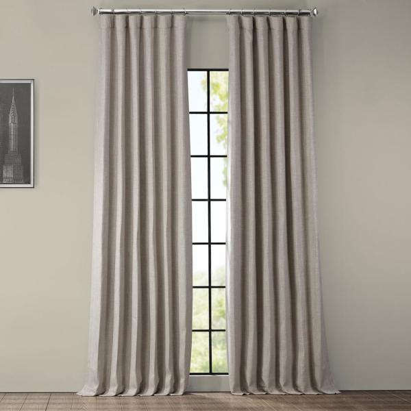 Clay Beige Faux Linen Blackout Curtain - 50 in. W x 108 in. L