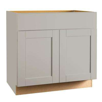 on sale 8f490 470e6 Shaker Assembled 36x34.5x24 in. Sink Base Kitchen Cabinet in Dove Gray