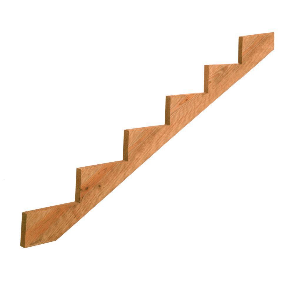 null 6-Step Pressure-Treated Cedar-Tone Pine Stair Stringer