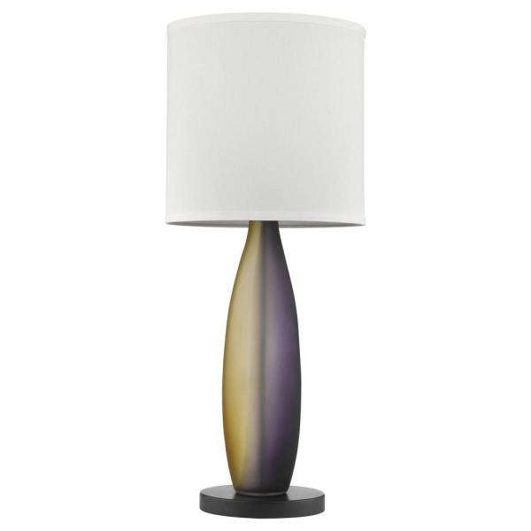 Elixer 30 in. 1-Light Plum/Gold Frosted Glass And Ebony Lacquer Table Lamp With Lattice Cream Linen Shade