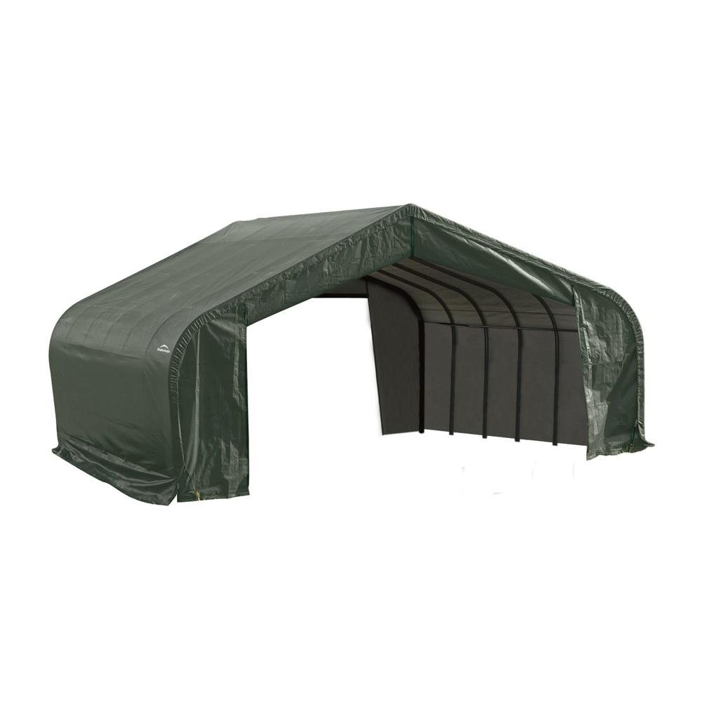 ShelterLogic 22 ft. x 28 ft. x 13 ft. Green Steel and Polyethylene Garage without Floor