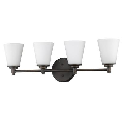Conti 4-Light Oil-Rubbed Bronze Vanity Light with Etched Glass Shades