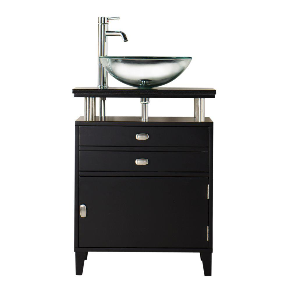Home Decorators Collection Moderna 24 in. W x 21 in. D Bath Vanity in Black with Marble Vanity Top in Black and Wood Door
