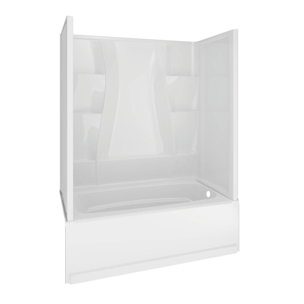 Delta Classic 400 32 in. x 60 in. x 80 in. Standard Fit Bath and Shower Kit with Right-Hand Drain in White
