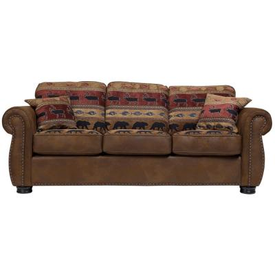 Hunter 88 in. Pattern Microfiber 3-Seater Queen Sleeper Sofa Bed with Removable Cushions