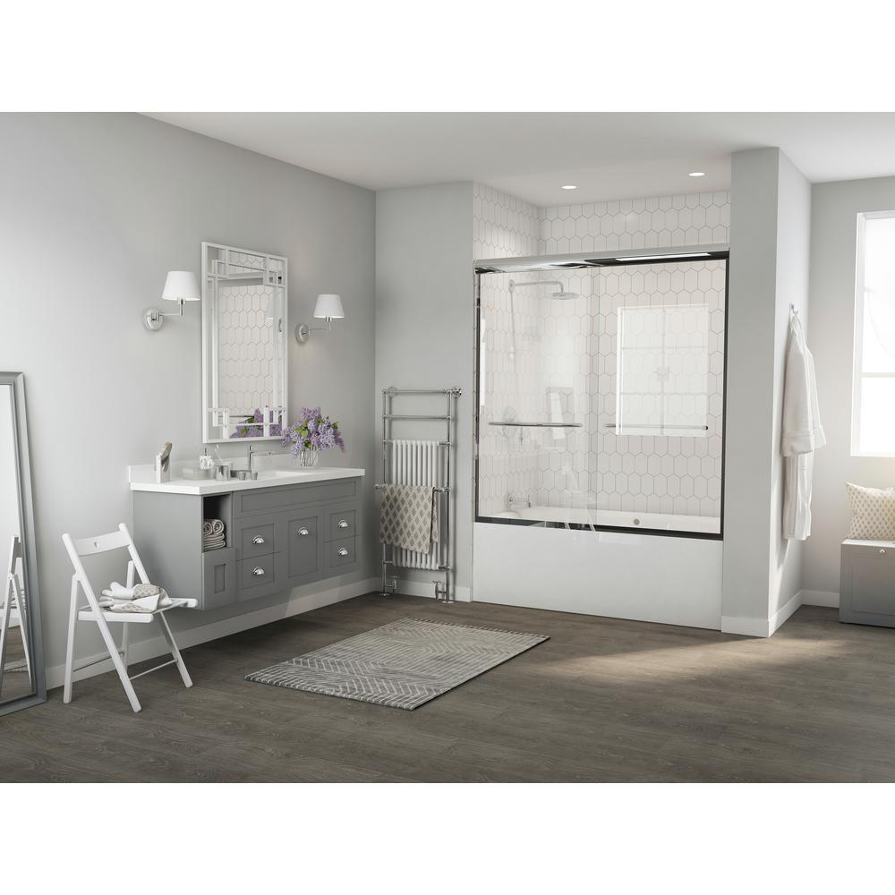 Coastal Shower Doors Paragon 1/4 Series 60 in. x 58 in. Semi-Framed Sliding Tub Door with Radius Curved Towel Bar in Chrome with Clear Glass