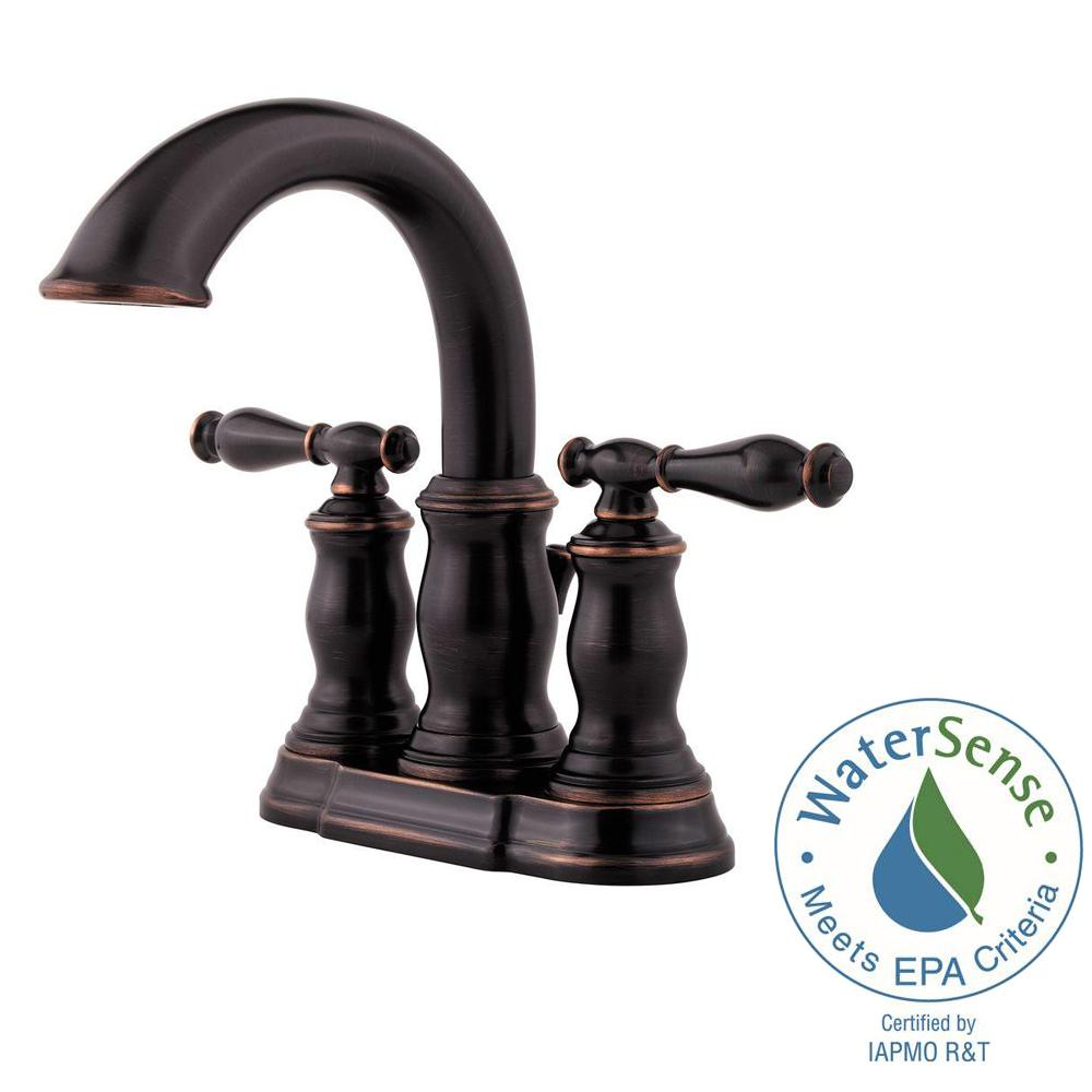Pfister Hanover 4 in. Centerset 2-Handle Bathroom Faucet in Tuscan ...