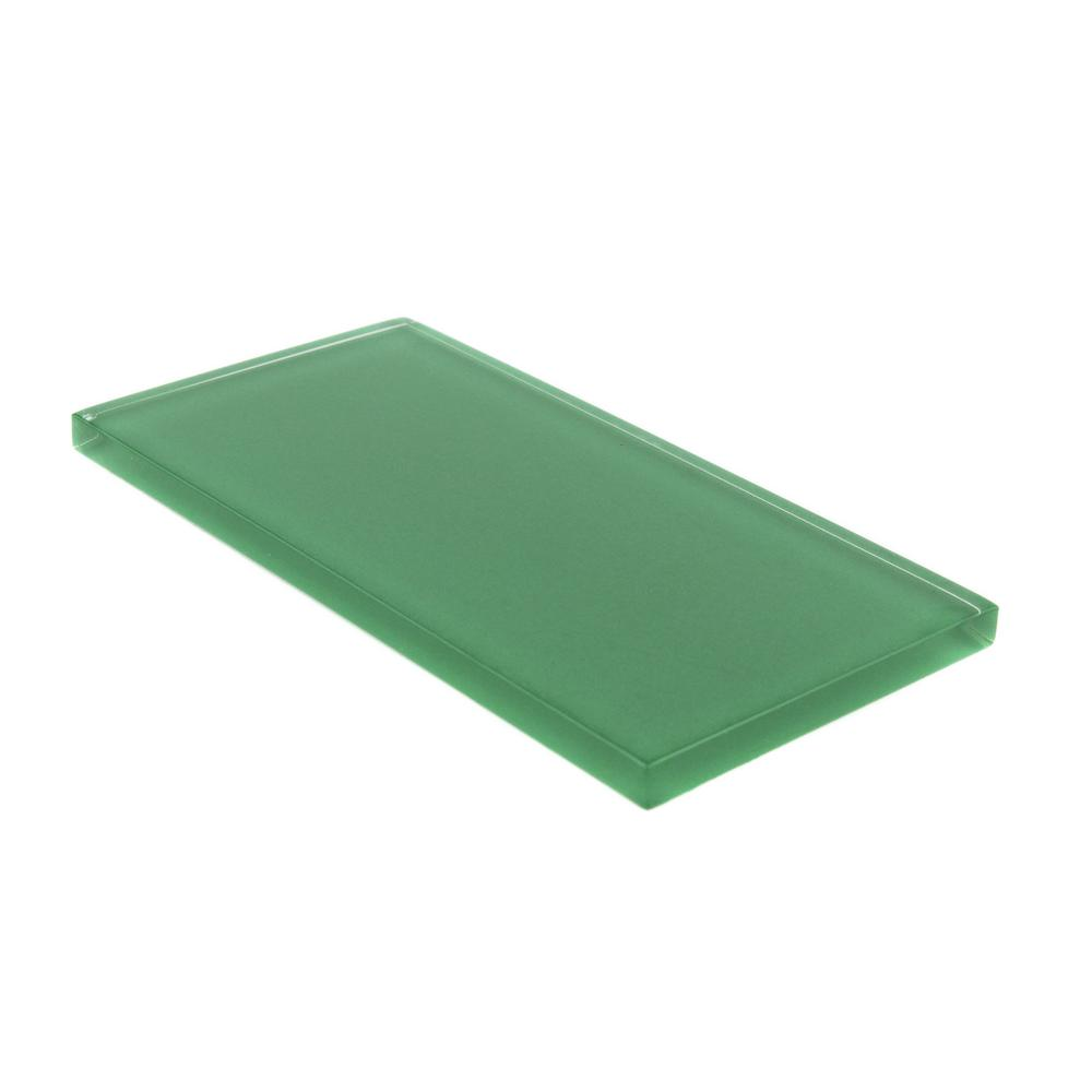 Giorbello 3 In X 6 In X 8mm Emerald Green Subway Glass Backsplash