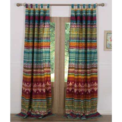 Southwest Multi Sheer Polyester Window Panel Pair - 42 in. W x 84 in. L
