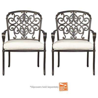 Edington Cast Back Pair of Patio Dining Chairs with Cushions Included, Choose Your Own Color