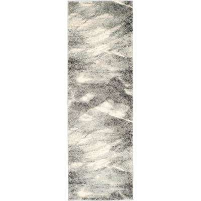 Retro Gray/Ivory 2 ft. 3 in. x 17 ft. Runner Rug