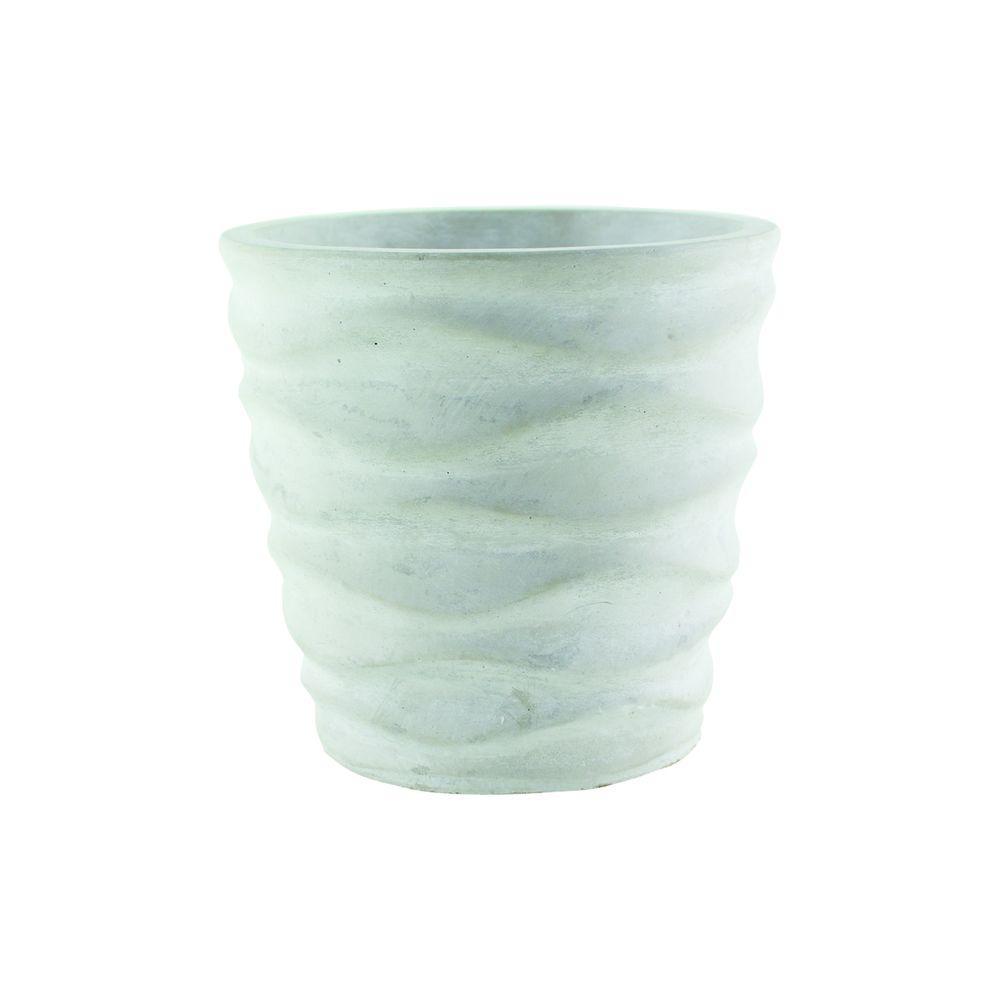 Syndicate Home Garden Urban Wave 5-1/4 in. Chalk Cement Planter