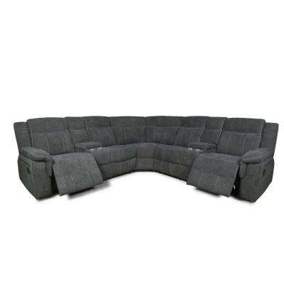 Mila Gray Motion 94.5 in. Symmetrical Reclining Sectional Sofa