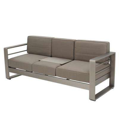 Valentina Silver Aluminum Outdoor Sofa with Khaki Cushions and Tray