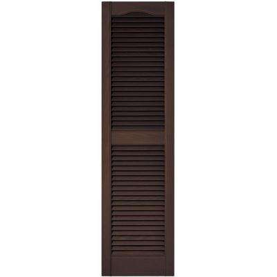 15 in. x 55 in. Louvered Vinyl Exterior Shutters Pair in #009 Federal Brown
