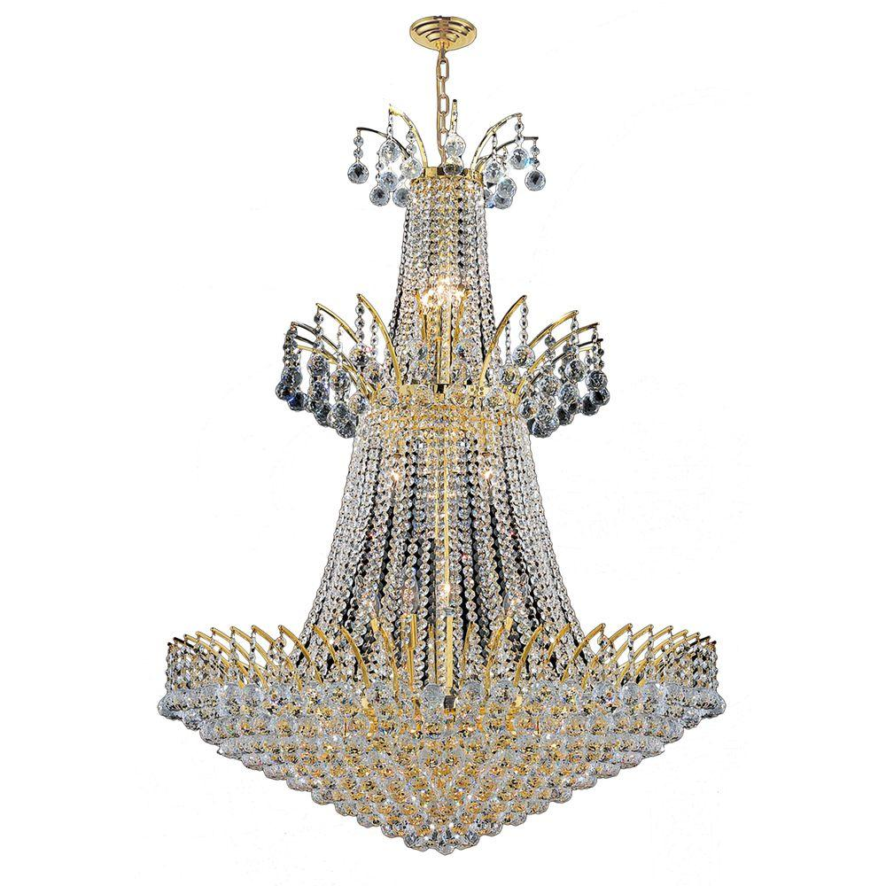 Empire Collection 18-Light Polished Gold Crystal Chandelier
