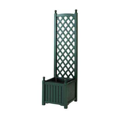 Lexington 16 in. Square Hunter Green Wood Planter with Trellis