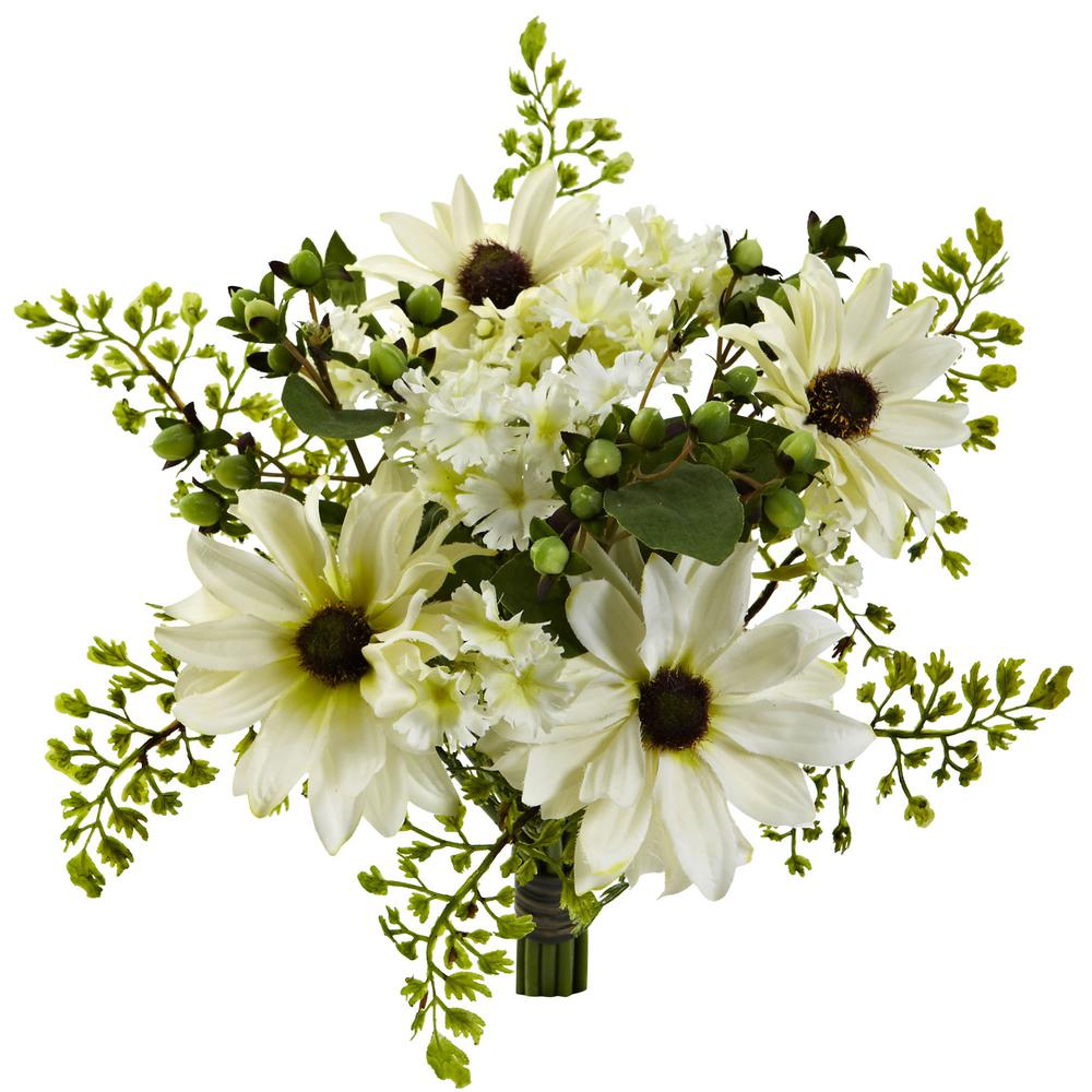 Nearly Natural Indoor 9 In Mixed Cream Daisy Artificial Flower