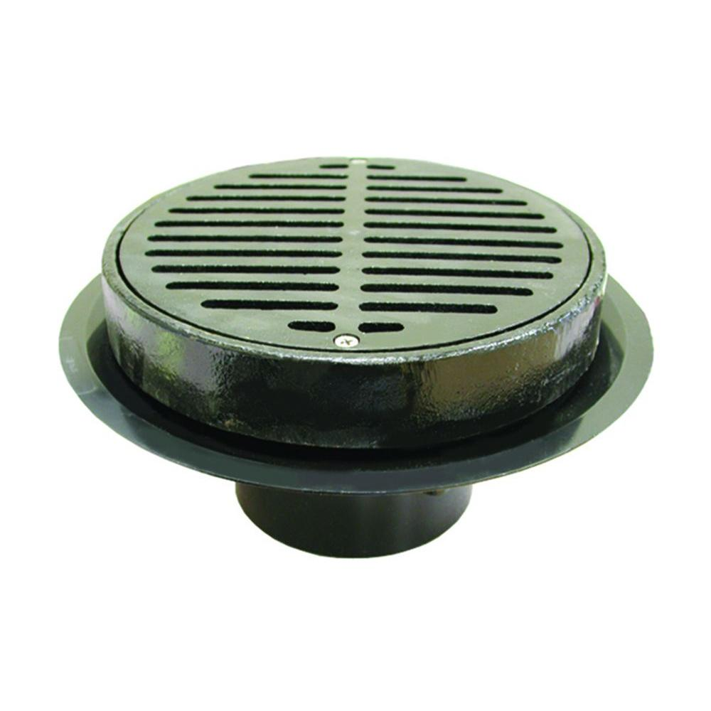 PVC Caulk Traffic Floor Drain With Cast Iron Grate And Ring
