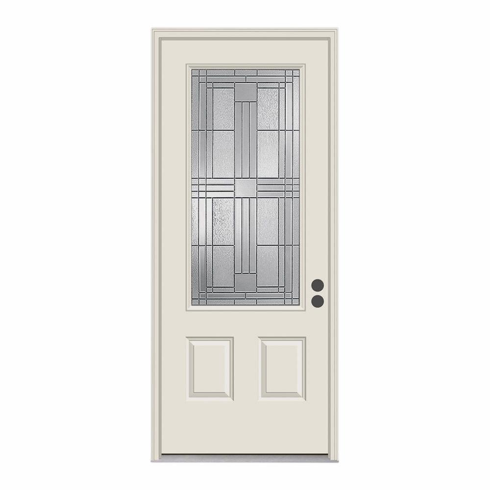JELD-WEN 36 in. x 80 in. 3/4 Lite Cordova Primed Steel Prehung Left-Hand Inswing Front Door w/Brickmould