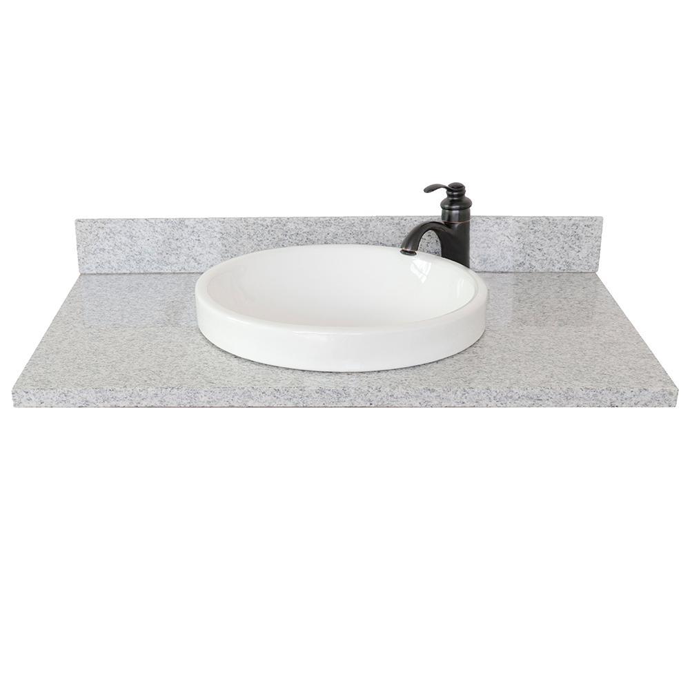 Ragusa III 37 in. W x 22 in. D Granite Single Basin Vanity Top in Gray with White Round Basin
