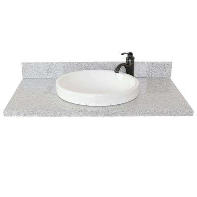 Ragusa III 37 in. W x 22 in. D Granite Single Basin Vanity Top in Gray with White Round Basin