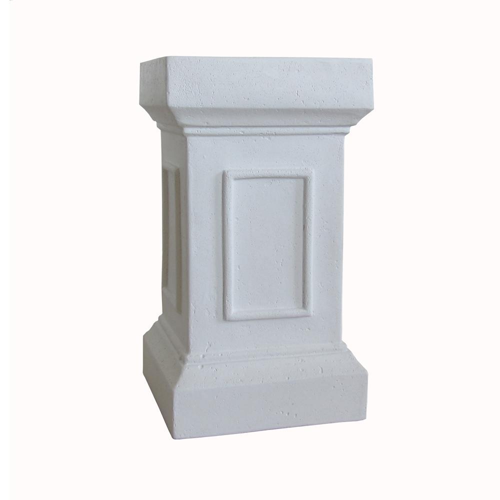 21.5 in. H Bright White Cast Stone Medici Pedestal or Planter