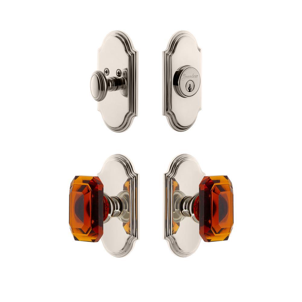 Arc Plate 2-3/4 in. Backset Polished Nickel Amber Baguette Crystal Door Knob with Single Cylinder Deadbolt