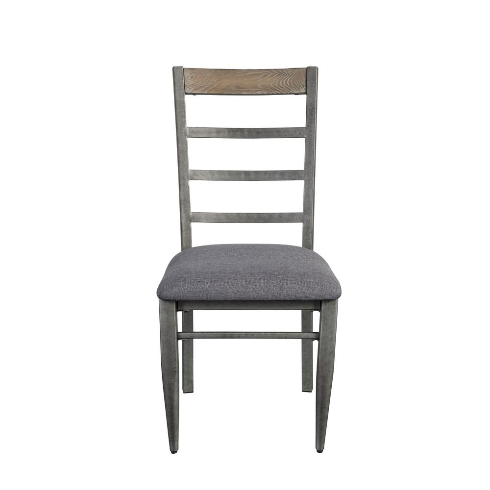 Acme Furniture Ornat Gray Fabric and Antique Gray Side Chair (Set of 2) - Acme Furniture Ornat Gray Fabric And Antique Gray Side Chair (Set Of