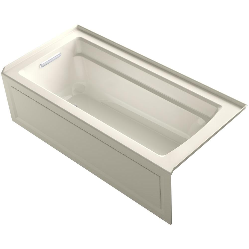 KOHLER Archer 5.5 ft. Left Drain Soaking Tub in Biscuit