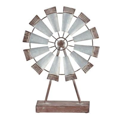 Home Decorators Collection Galvanized Metal Windmill with Wood Stand