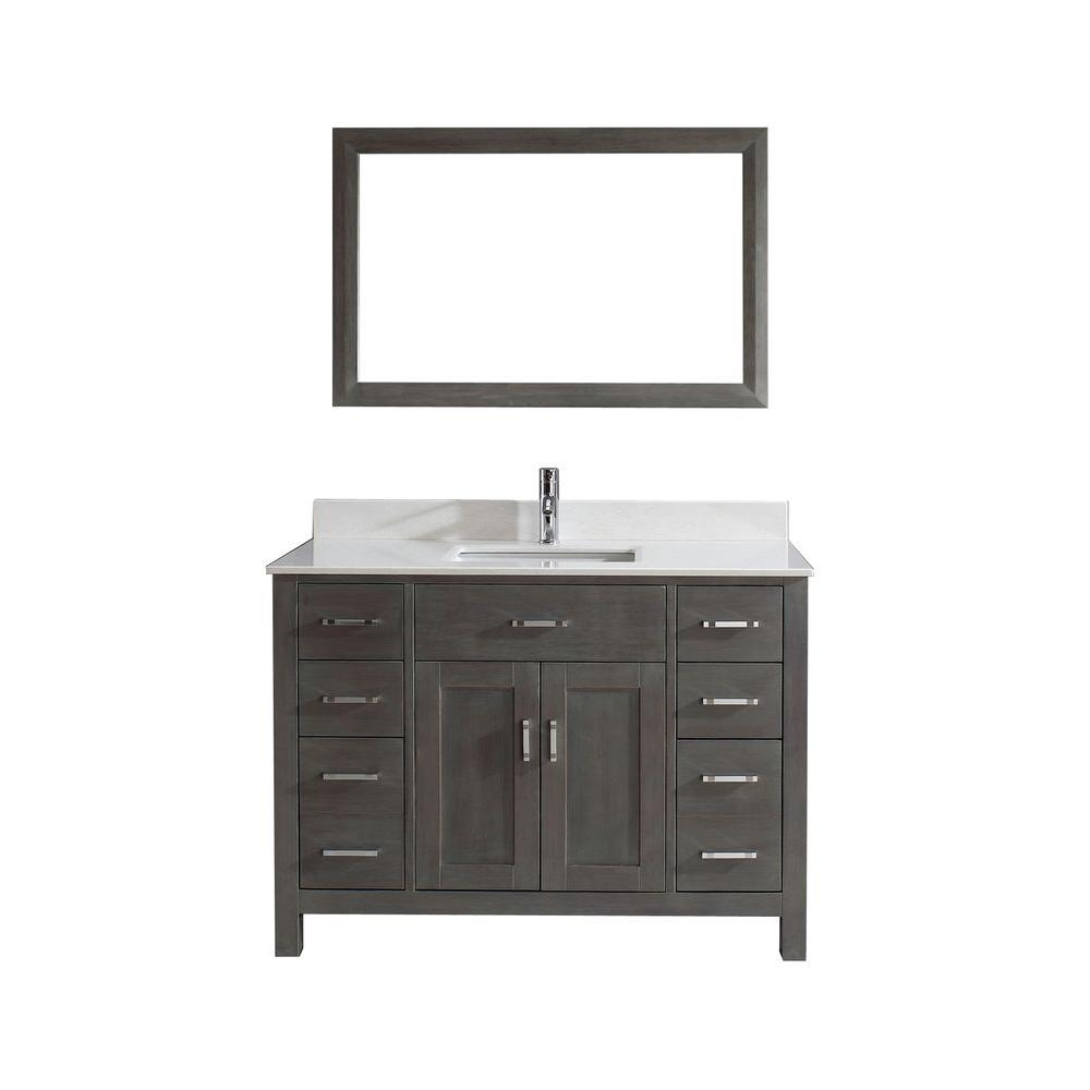 Incroyable Studio Bathe Kalize 48 In. Vanity In French Gray With Solid Surface Marble  Vanity Top