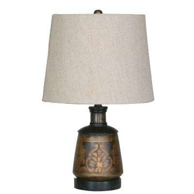17 in. Black Hand Painted Terracotta Table Lamp