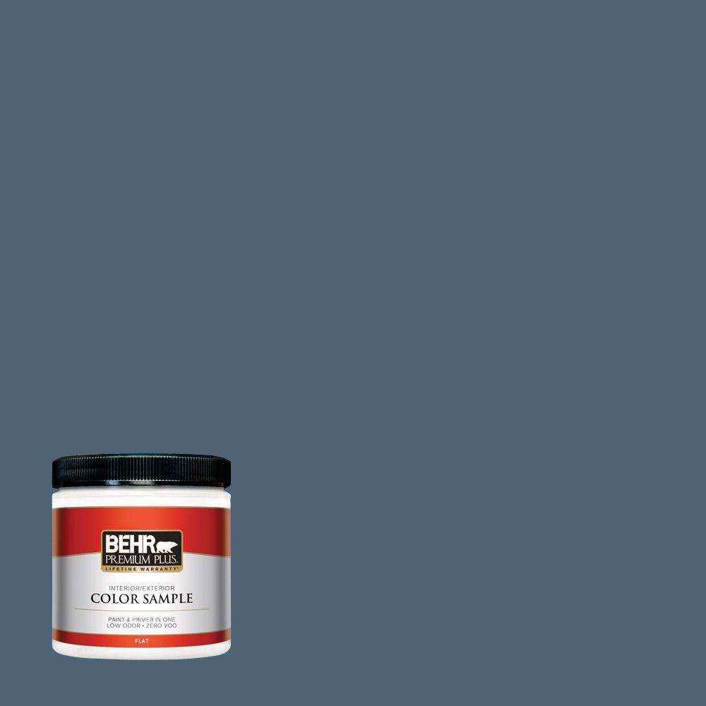 BEHR Premium Plus 8 oz. #T17-17 Midnight Show Flat Interior/Exterior Paint and Primer in One Sample