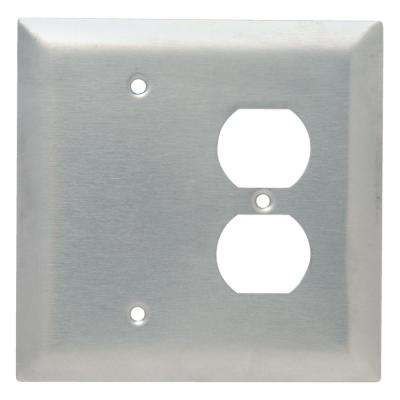 302 Series 2-Gang Jumbo Duplex/Blank Combination Wall Plate, Stainless Steel