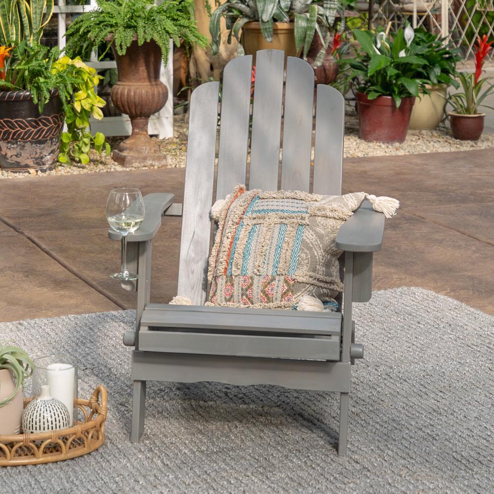 Grey Wash Outdoor Patio Wood Adirondack Chair