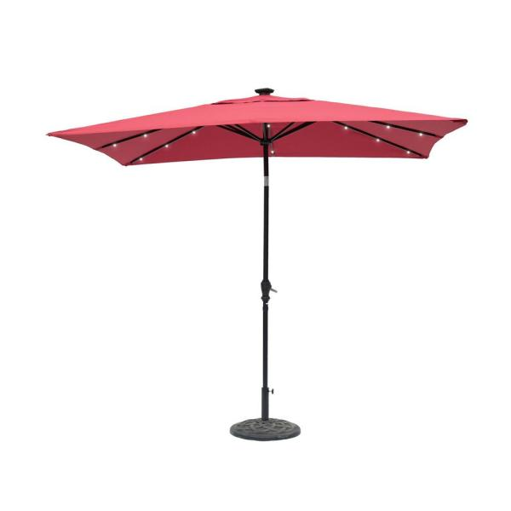 9 ft. x 7 ft. Rectangular Solar Lighted Market Patio Umbrella in Scarlet