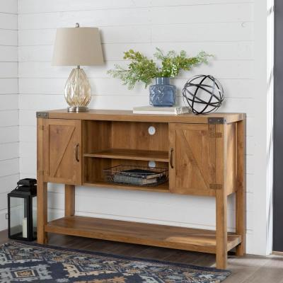 Barnwood 52 in. Barnwood MDF TV Stand 60 in. with Doors