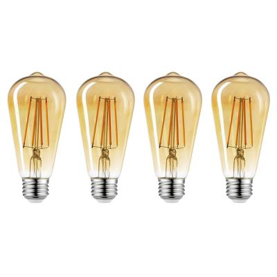 60-Watt Equivalent ST19 Dimmable Vintage Edison Amber Glass LED Light Bulb Soft White (4-Pack) (2150K)