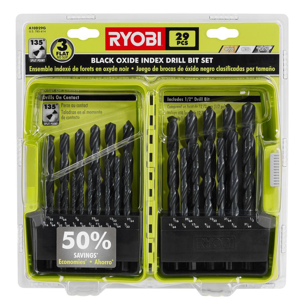 Drill bits power tool accessories the home depot black oxide drill bit set 29 piece greentooth Images